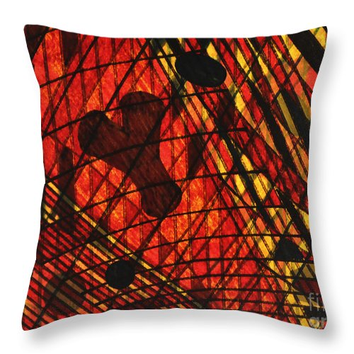 Abstract Throw Pillow featuring the drawing Why Knot by TB Schenck