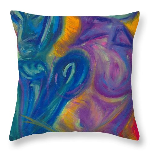 Throw Pillow featuring the pastel Why by Sitara Bruns