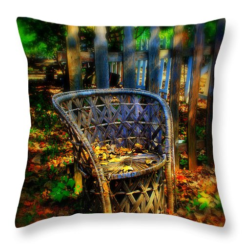 Chair Throw Pillow featuring the photograph Wicker Chair by Perry Webster