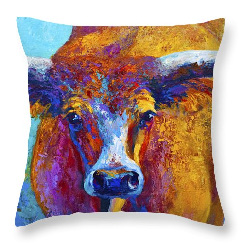 Western Paintings Throw Pillow featuring the painting Widespread - Texas Longhorn by Marion Rose