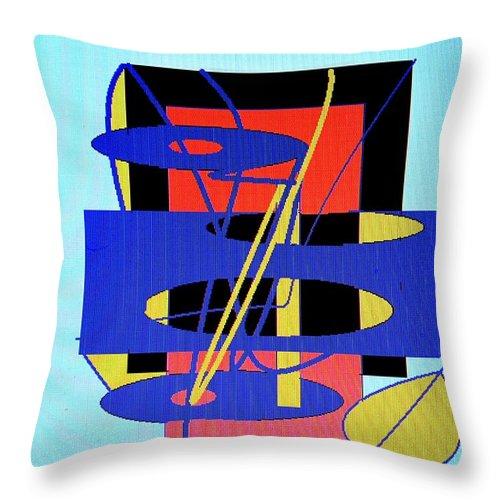 Abstract Throw Pillow featuring the digital art Widget World by Ian MacDonald