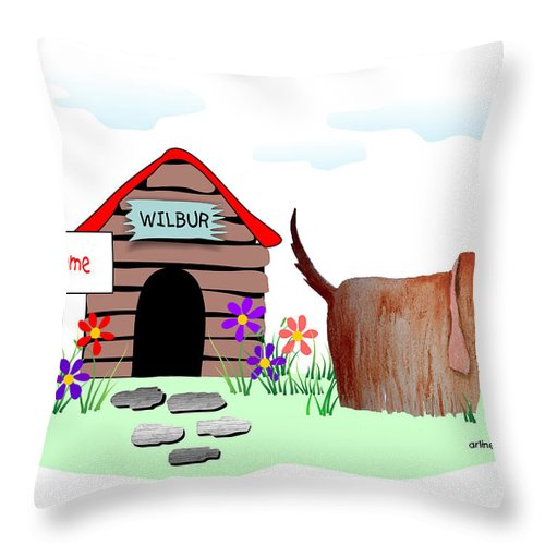 Dog Throw Pillow featuring the digital art Wilbur And The Butterfly by Arline Wagner