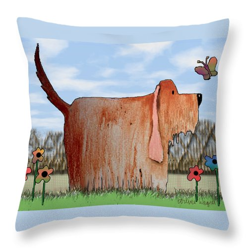 Dog Throw Pillow featuring the digital art Wilbur by Arline Wagner