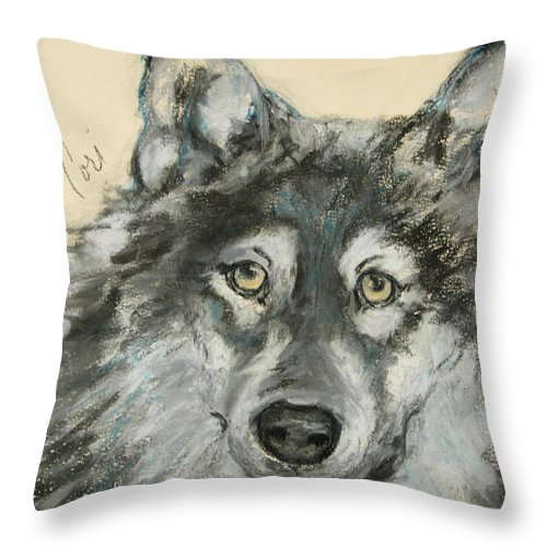 Wolf Throw Pillow featuring the drawing Wild At Heart by Cori Solomon