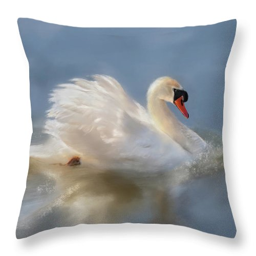 Swan Throw Pillow featuring the digital art Wild Beauty Painted by Lois Bryan