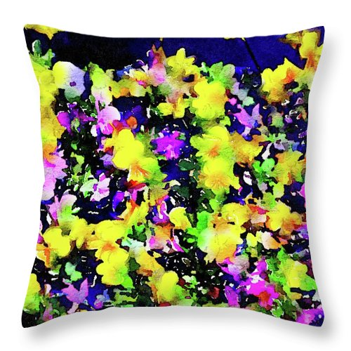 Flowers Throw Pillow featuring the painting Wild Blossoms by Jamie Holbrook
