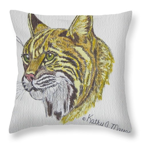 Wild Bobcat Throw Pillow featuring the painting Wild Bobcat by Kathy Marrs Chandler