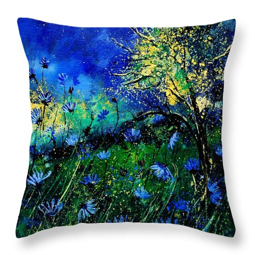 Poppies Throw Pillow featuring the painting Wild Chocoree by Pol Ledent