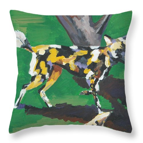 Dog Throw Pillow featuring the painting Wild Dogs by Caroline Davis