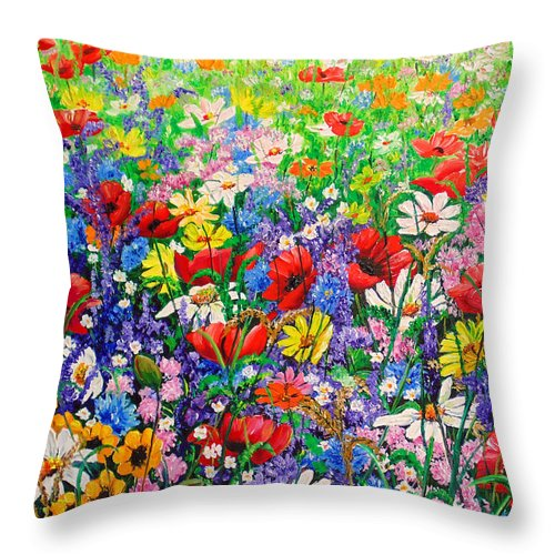 Wild Flowers Throw Pillow featuring the painting Wild Flower Meadow by Karin Dawn Kelshall- Best
