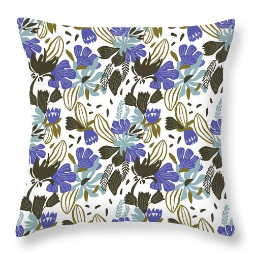 Background; Seamless; Wallpaper; Pattern; Illustration; Floral; Design; Flower; Nature; Texture; Vector; Abstract; Decoration; Summer; Plant; Leaf; Textile; Beauty; Drawing; Spring; Blossom; Art; Natural; Ornament; Beautiful; Floral Pattern; Pattern Vector; Wild Flowers; Female; Small; Patterns; Fashion; Fabric; Print; Green; Fresh; Paper; Elegance; Decor; Garden; Field; Repeat; Wrapping; Ornamental; Vintage; Retro Throw Pillow featuring the tapestry - textile Wild Flower by Zoia Ulazovska