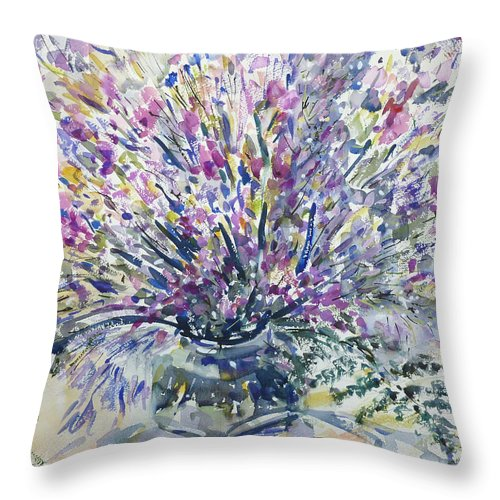 Still Life Throw Pillow featuring the painting Wild Flowers #4 by Nellya Veller
