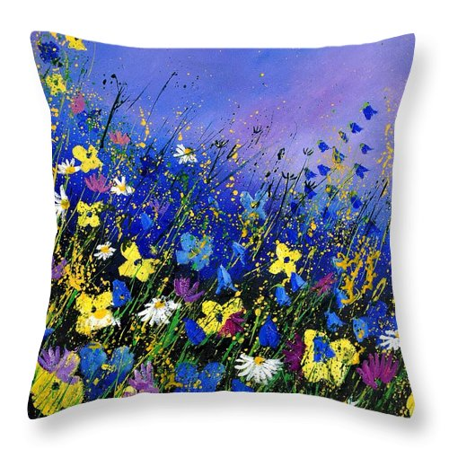Flowers Throw Pillow featuring the painting Wild Flowers 560908 by Pol Ledent
