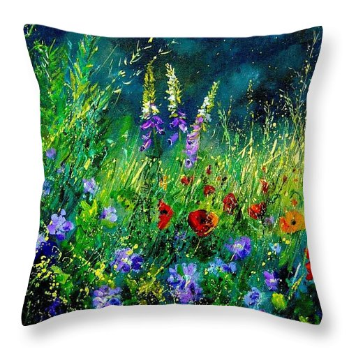 Poppies Throw Pillow featuring the painting Wild Flowers by Pol Ledent