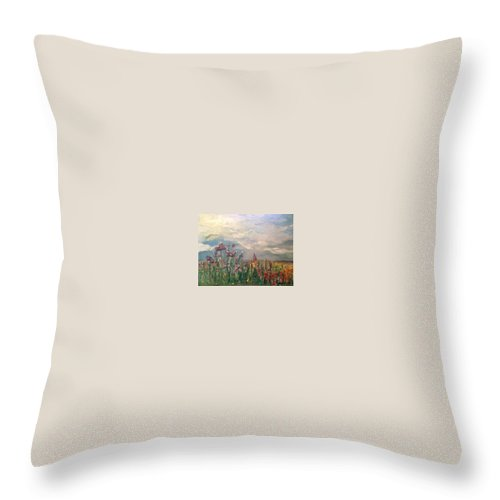 Wild Flowers Throw Pillow featuring the painting Wild Flowers by Sarah Nell-Griffin