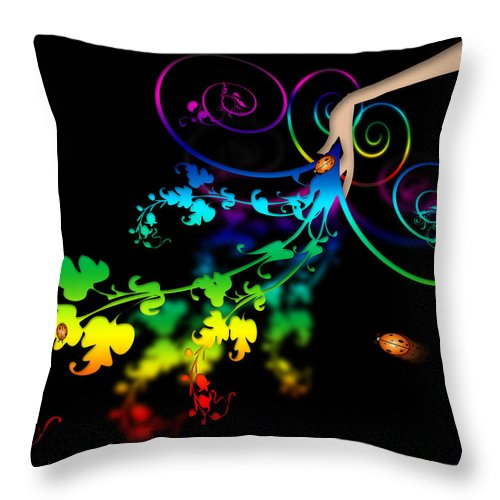 Abstract Throw Pillow featuring the digital art Wild Flowers by Svetlana Sewell