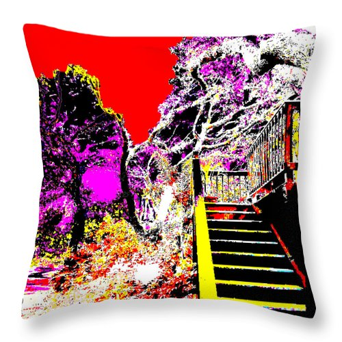 Square Throw Pillow featuring the digital art Wild Goddess At Kashi by Eikoni Images