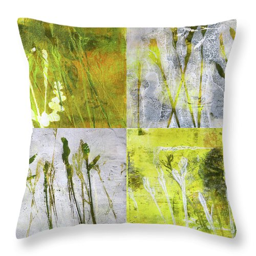 Wild Grass Throw Pillow featuring the painting Wild Grass Collage 2 by Nancy Merkle