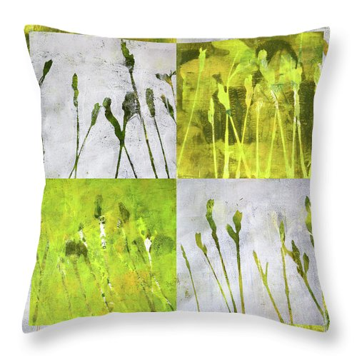 Wild Grass Collage Throw Pillow featuring the painting Wild Grass Collage 3 by Nancy Merkle