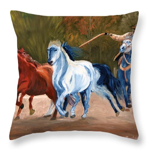 Cowboy Throw Pillow featuring the painting Wild Horse Roundup by Michael Lee