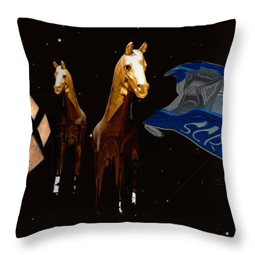 Truck Throw Pillow featuring the photograph Wild Horses by Charles Stuart