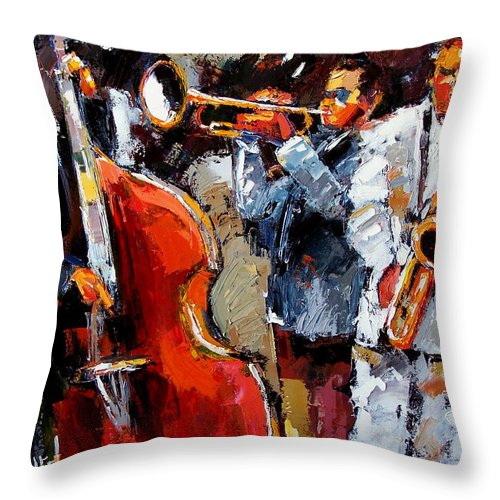 Jazz Throw Pillow featuring the painting Wild Jazz by Debra Hurd
