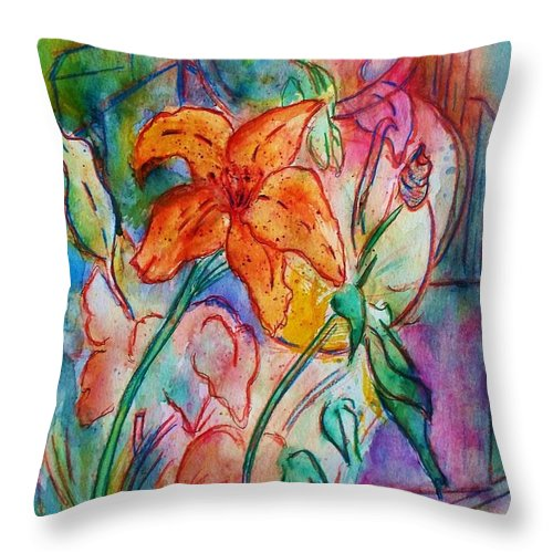 Floral Throw Pillow featuring the painting Wild Lily by Robin Monroe