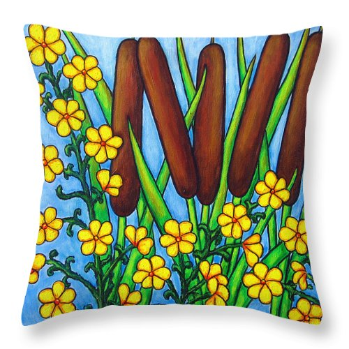 Cat Tails Throw Pillow featuring the painting Wild Medley by Lisa Lorenz