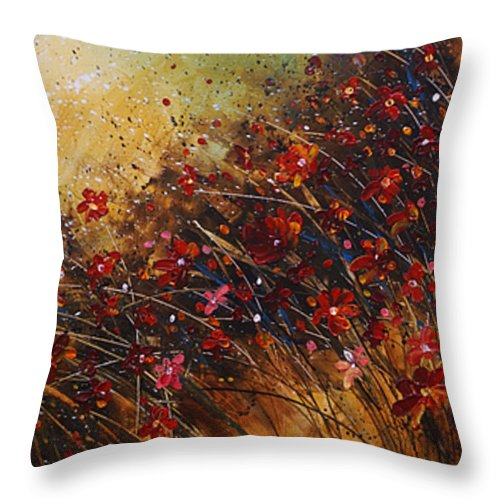 Red Flowers Throw Pillow featuring the painting Wild by Michael Lang