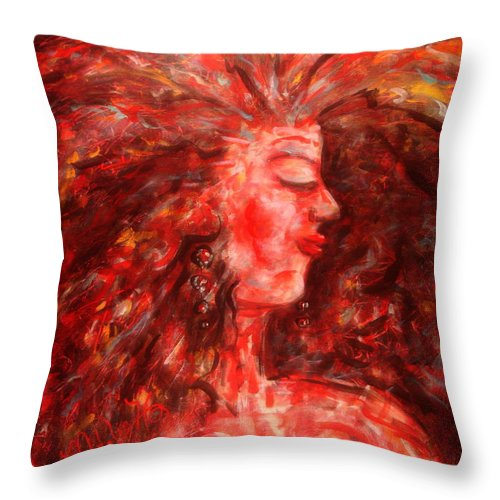 Female Throw Pillow featuring the painting Wild One by Natalie Holland