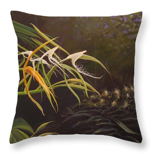 Caribbean Throw Pillow featuring the painting Wild Orchids by Hunter Jay