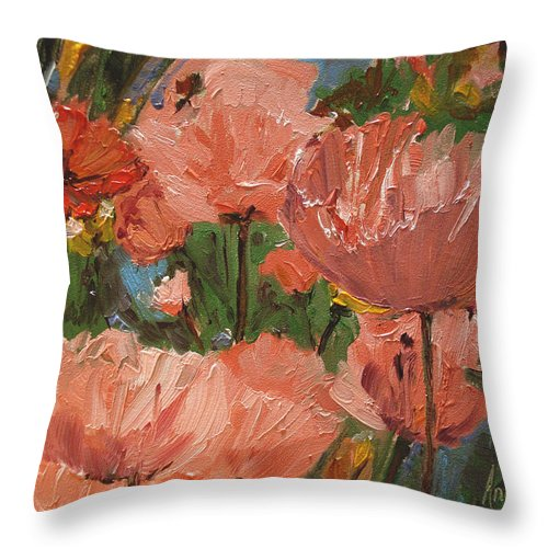 Impressionism Throw Pillow featuring the painting Wild Poppies by Barbara Andolsek