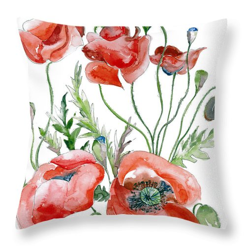 Poppies Throw Pillow featuring the painting Wild Poppies by Sharon Cox