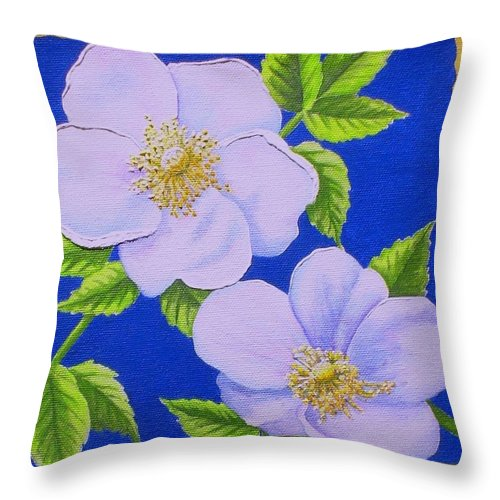 Wild Flowers Throw Pillow featuring the painting Wild Roses by Carol Sabo
