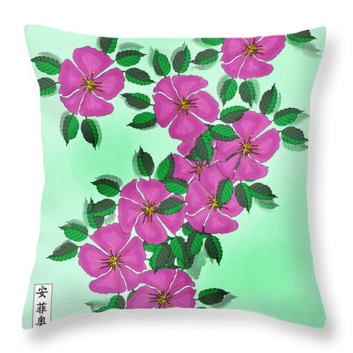Floral Throw Pillow featuring the painting Wild Roses by Anne Norskog