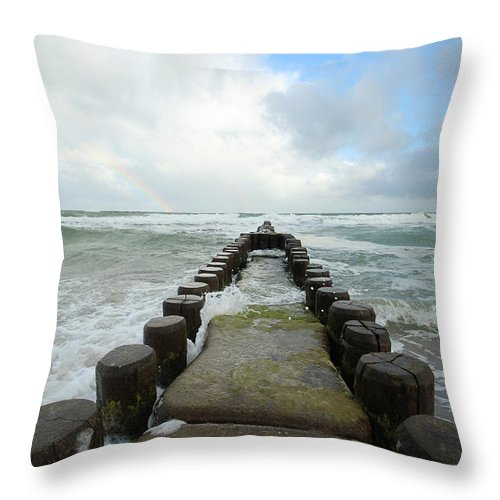 Baltic Sea Throw Pillow featuring the photograph Wild Sea by Heike Hultsch