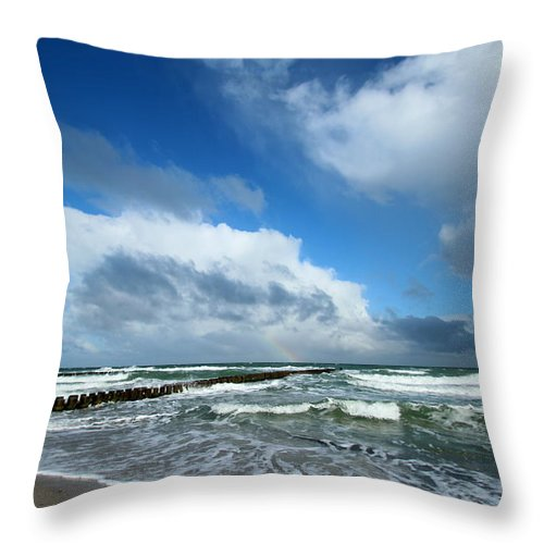 Baltic Sea Throw Pillow featuring the photograph Wild Sky by Heike Hultsch