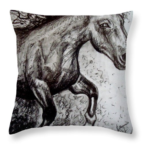 Horse Throw Pillow featuring the painting Wild Stallion by Elizabeth Robinette Tyndall