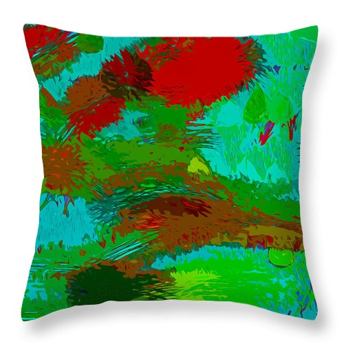 Abstract Circle Art Throw Pillow featuring the painting Wild Things by Robert Margetts