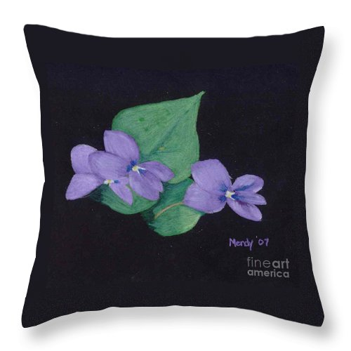 Violets Throw Pillow featuring the pastel Wild Violets by Mendy Pedersen