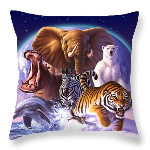 Mammals Throw Pillow featuring the painting Wild World by Jerry LoFaro
