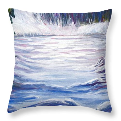 Northern Canada Winter Wilderness Forest Throw Pillow featuring the painting Wilderness by Joanne Smoley