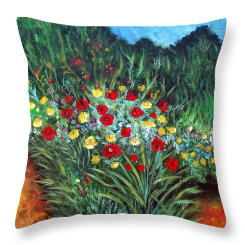 Abstract Throw Pillow featuring the painting Wildflower Garden 1 by Nancy Mueller