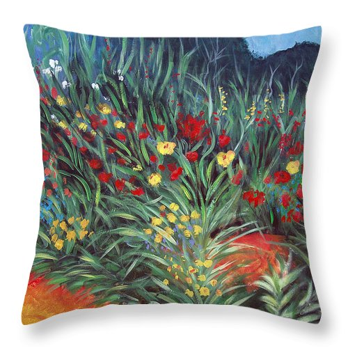 Landscape Throw Pillow featuring the painting Wildflower Garden 2 by Nancy Mueller
