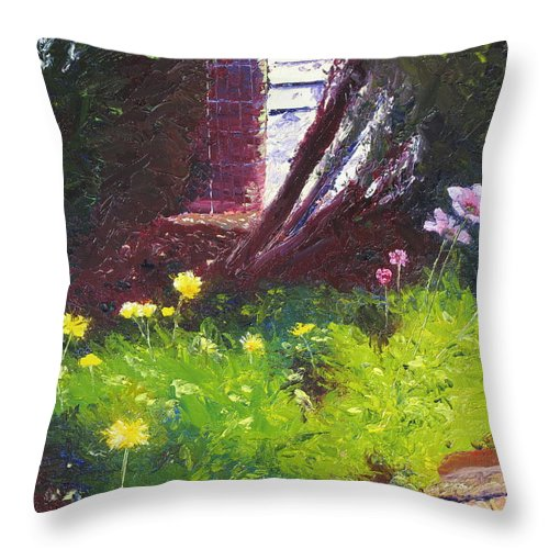 Landscape Throw Pillow featuring the painting Wildflower Garden by Lea Novak