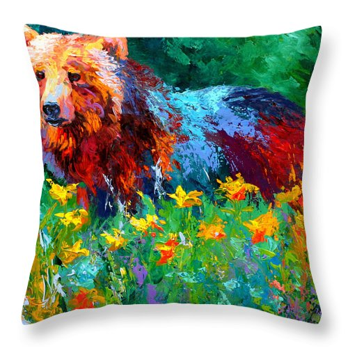 Bear Throw Pillow featuring the painting Wildflower Grizz II by Marion Rose
