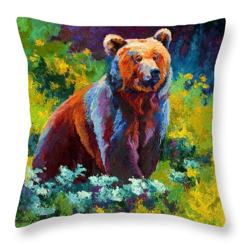 Bear Throw Pillow featuring the painting Wildflower Grizz by Marion Rose
