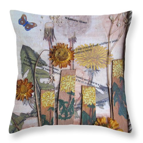 Collage Throw Pillow featuring the mixed media Wildflower Honey by Sandy McIntire