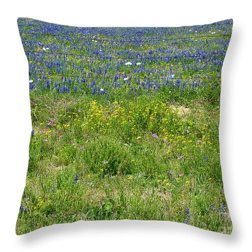 Nature Throw Pillow featuring the photograph Wildflowers - Blue Horizon Three by Lucyna A M Green