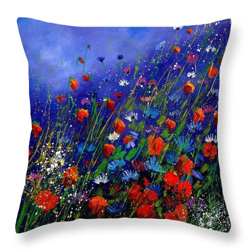 Poppies Throw Pillow featuring the painting Wildflowers 78 by Pol Ledent